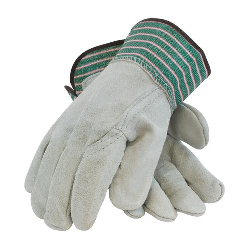 "PIP  ""B"" Grade Shoulder Split Cowhide Leather Palm Gloves, Green & Pink Striped #83-6044"