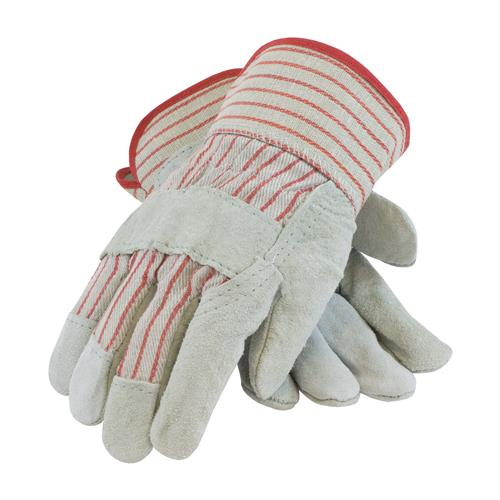 "PIP  ""B/C"" Grade Split Cowhide Gloves, Gray & Red Striped Fabric, Rubberized #85-7512"