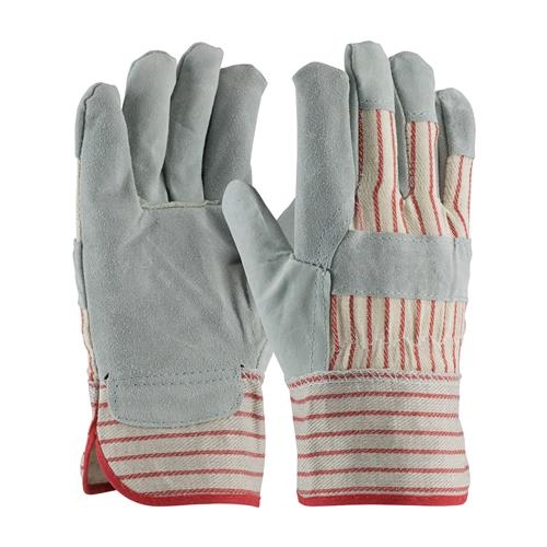 "PIP  ""B/C"" Grade Split Cowhide Gloves, Gray & Red Striped Fabric, Starched Safety #85-7512CS"