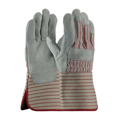 "PIP  ""B/C"" Grade Split Cowhide Gloves, Gray & Red Striped Fabric, Rubberized #85-7612"