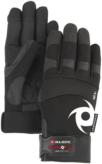 Majestic A1P37B Alycore Armor Skin Mechanics Gloves, Puncture Resistant, Cut Level 5+ Cut Resistant, Alycore Layers= 2 Palm/1 Fingers, Synthetic Leather Palm, Black, Box/Dozen Pairs