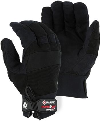 Majestic A2B37B Alycore Armor Skin Mechanics Gloves, Puncture Resistant, Cut Level 5+ Cut Resistant, Alycore Layers= 4 Palm/2Back of Hand/2 Fingers, Synthetic Leather Palm, Black, Box/6 Pairs