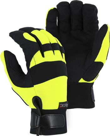Majestic A4B37Y Alycore Armor Skin Mechanics Gloves, Needle & Puncture Resistant, Cut Level 5+ Cut Resistant, Alycore Layers= 8 Palm/4 Back of Hand/4 Fingers, Synthetic Leather Palm, Hi Vis Yellow, Box/6 Pairs
