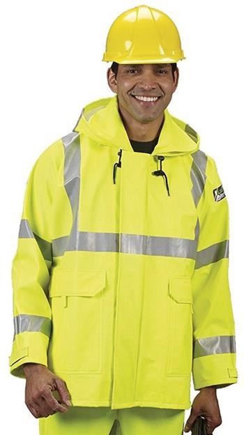 Lakeland AJPU10LY Hi Vis Arc Tech Premium Polyurethane FR/Arc Rated, Waterproof Rain Jacket, ANSI 107-2010 Class 3, ASTM Arc & Flash Rated