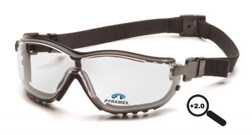 Pyramex GB1810STR20 Safety Glasses, V2G Readers™ Eyewear +2.0 Clear Lens with Black Strap/Temples