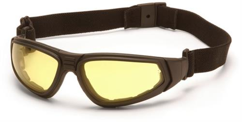 Pyramex GB4030ST Safety Glasses, XSG™ Eyewear Amber Anti-Fog Lens with Black Strap/Temples