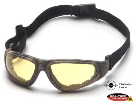 Pyramex GC4030BST Safety Glasses, XSG™ Eyewear Amber Ballistic Anti-Fog Lens with Black Strap/Realtree™ Temples