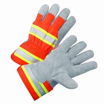 "West Chester HVO500 NEW Hi-Vis Premium Split Cowhide Leather Palm, Unlined, 2½"" Safety Cuff Gloves"