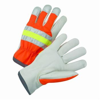 West Chester HVO990K NEW Hi-Vis Premium Top Grain Cowhide Leather Slip-On Driver's Gloves