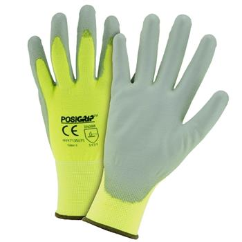 West Chester HVY713SUTS Tacto™ Touch Screen Gloves, Gray PU Palm Coated, 13g Hi vis Yellow Nylon Shell, EN388 = 4131, Box/Dozen Pairs