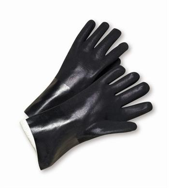 "West Chester J1017RF, Black PVC Coated, 10"" Length, Sandpaper Grip, Jersey Lined Gloves"