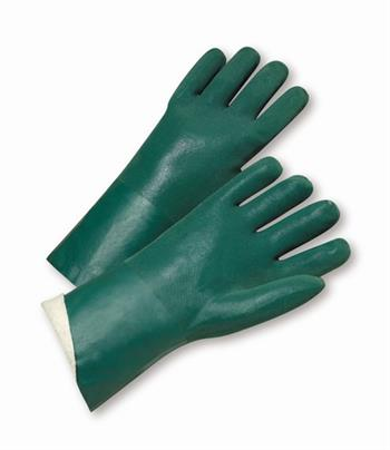 "West Chester J1247RF,  Green PVC Coated, 14"" Length, Sandpaper Grip, Jersey Lined Gloves"