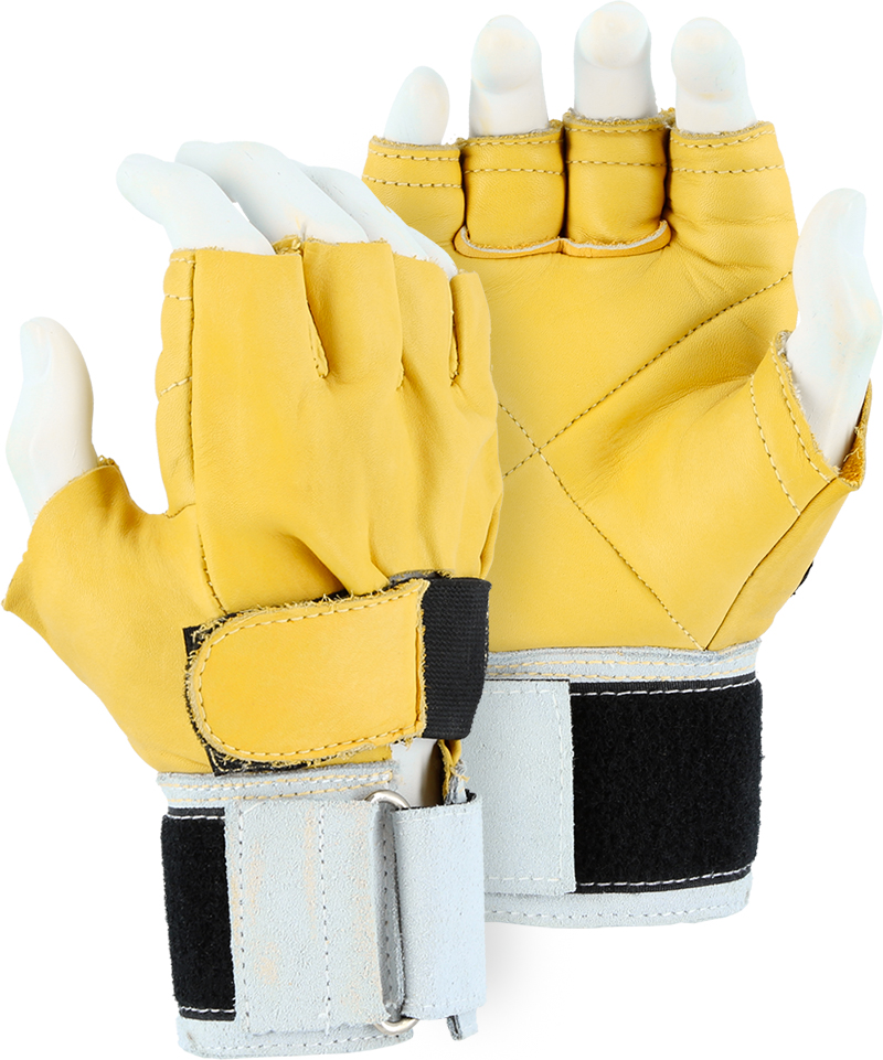 Majestic 1900 Fingerless Leather Anti-Vibration Gloves, Kevlar Stitched - Box/12 Pairs
