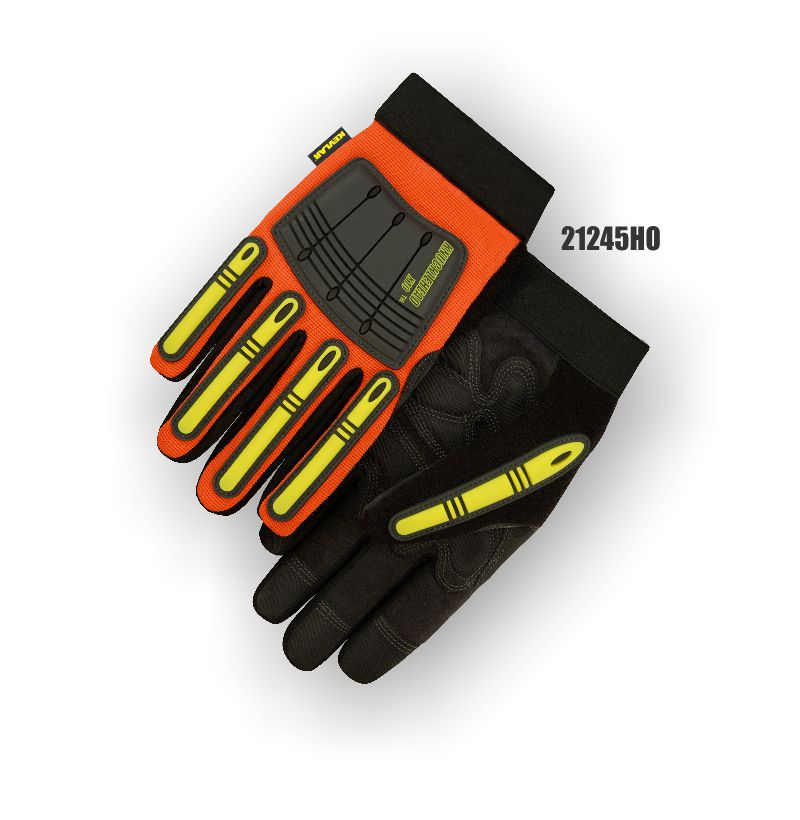 Majestic 21245HO Knucklehead X10 Mechanics Glove, Armor Skin, Neoprene Padding, PVC Patches, Kevlar Lined, Hi Vis Orange, The New King of the Oil & Gas Industry, Box/Dozen Pairs
