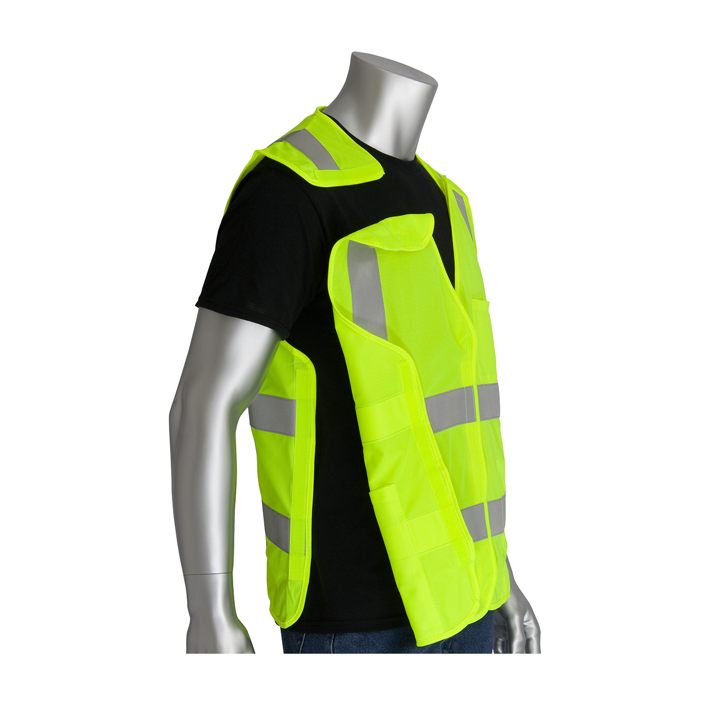 PIP 305-5PVFRLY ANSI Class 2 Type R FR-Treated 5-Point Breakaway Solid Fabric Vest, Lime