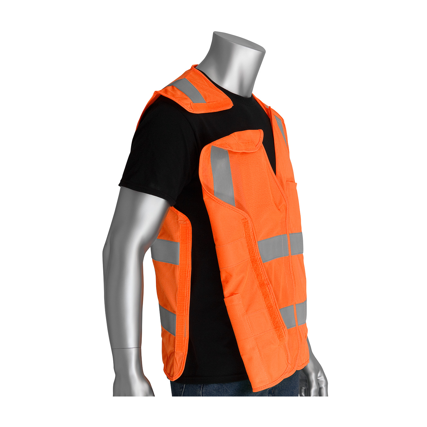 PIP 305-5PVFROR ANSI Class 2 Type R FR-Treated 5-Point Breakaway Solid Fabric Vest, Orange