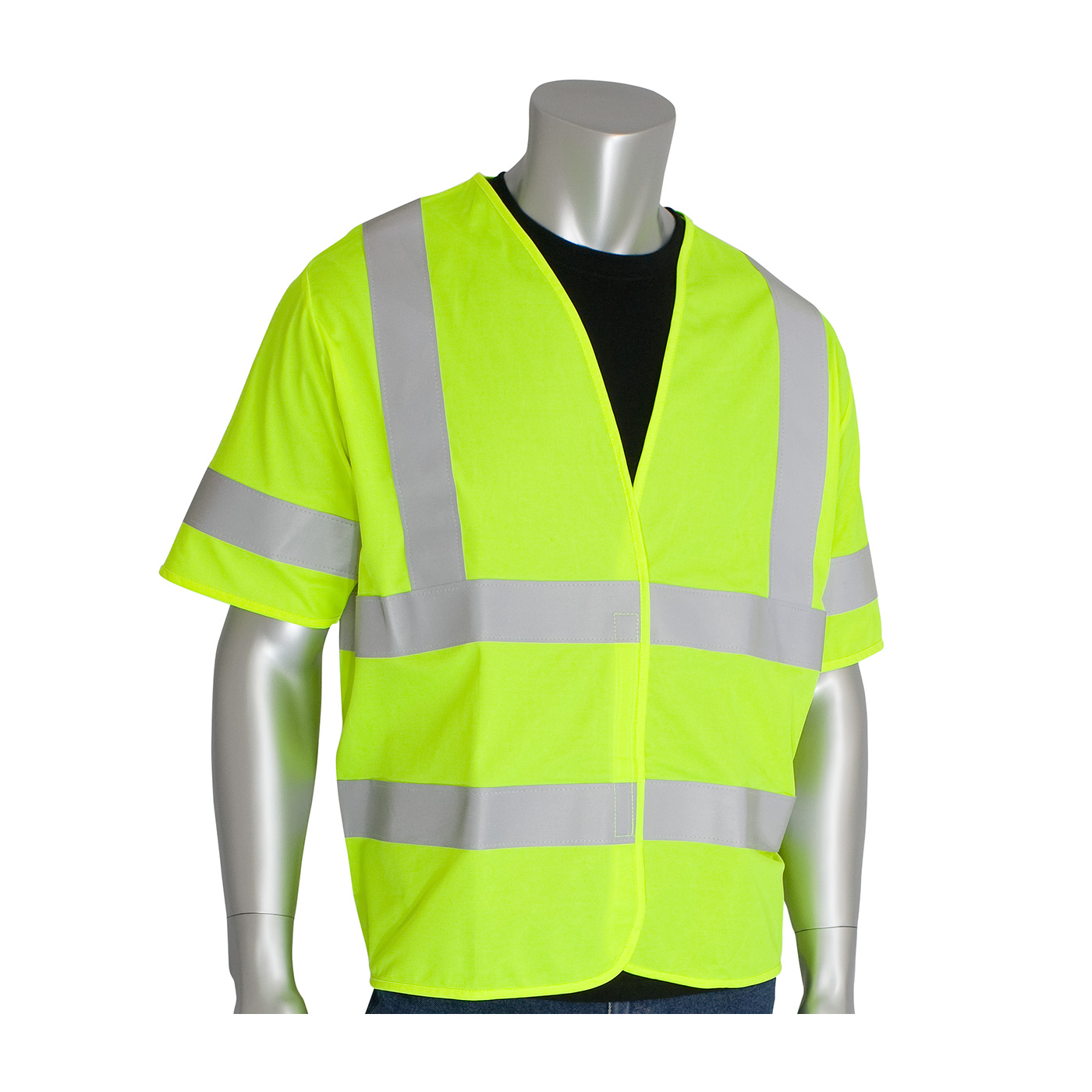 PIP 305-HSSVFRLY ANSI Class 3 FR-Treated Solid Fabric Vest, Hi Vis Lime Yellow