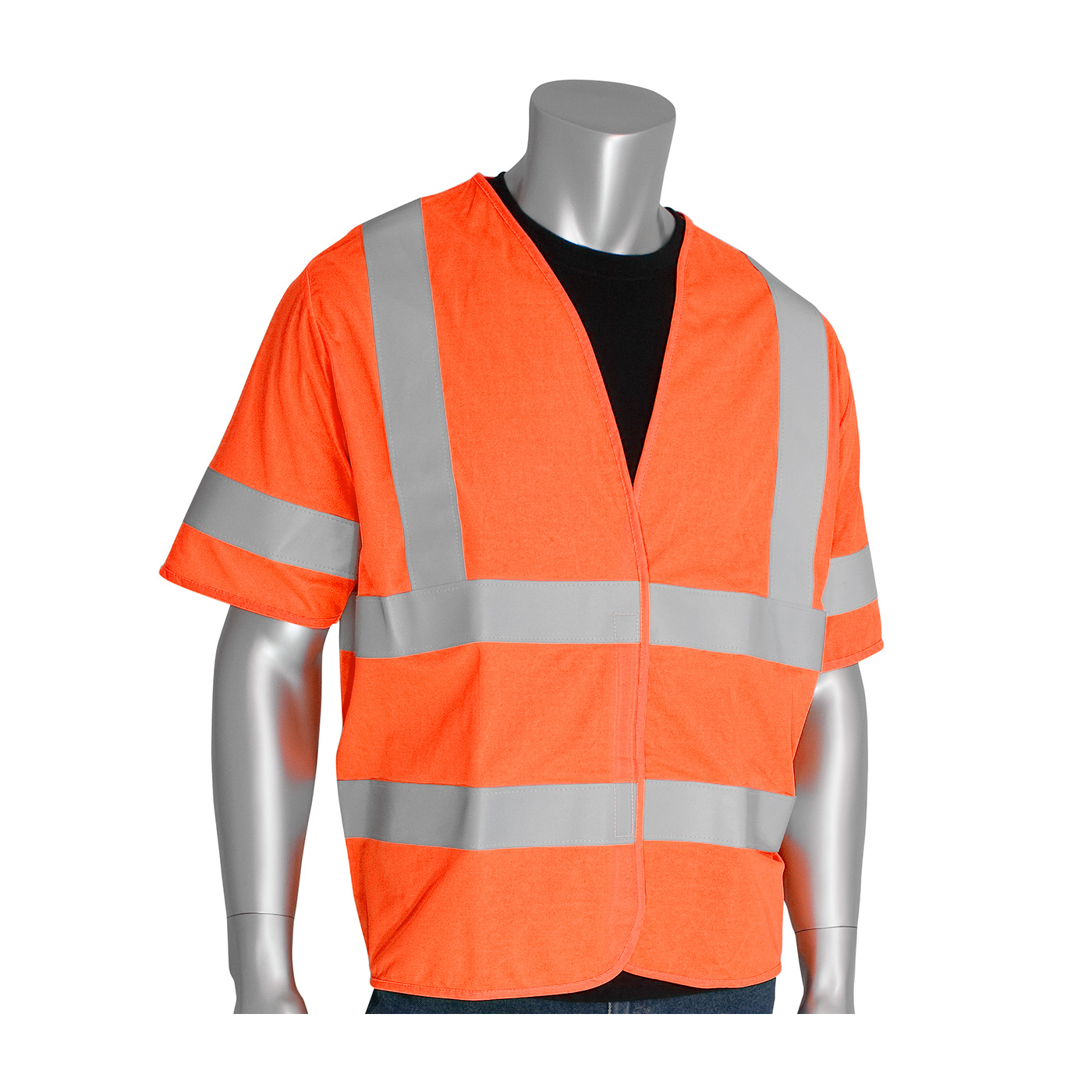 PIP 305-HSSVFROR ANSI Class 3 FR-Treated Solid Fabric Vest, Hi Vis Orange
