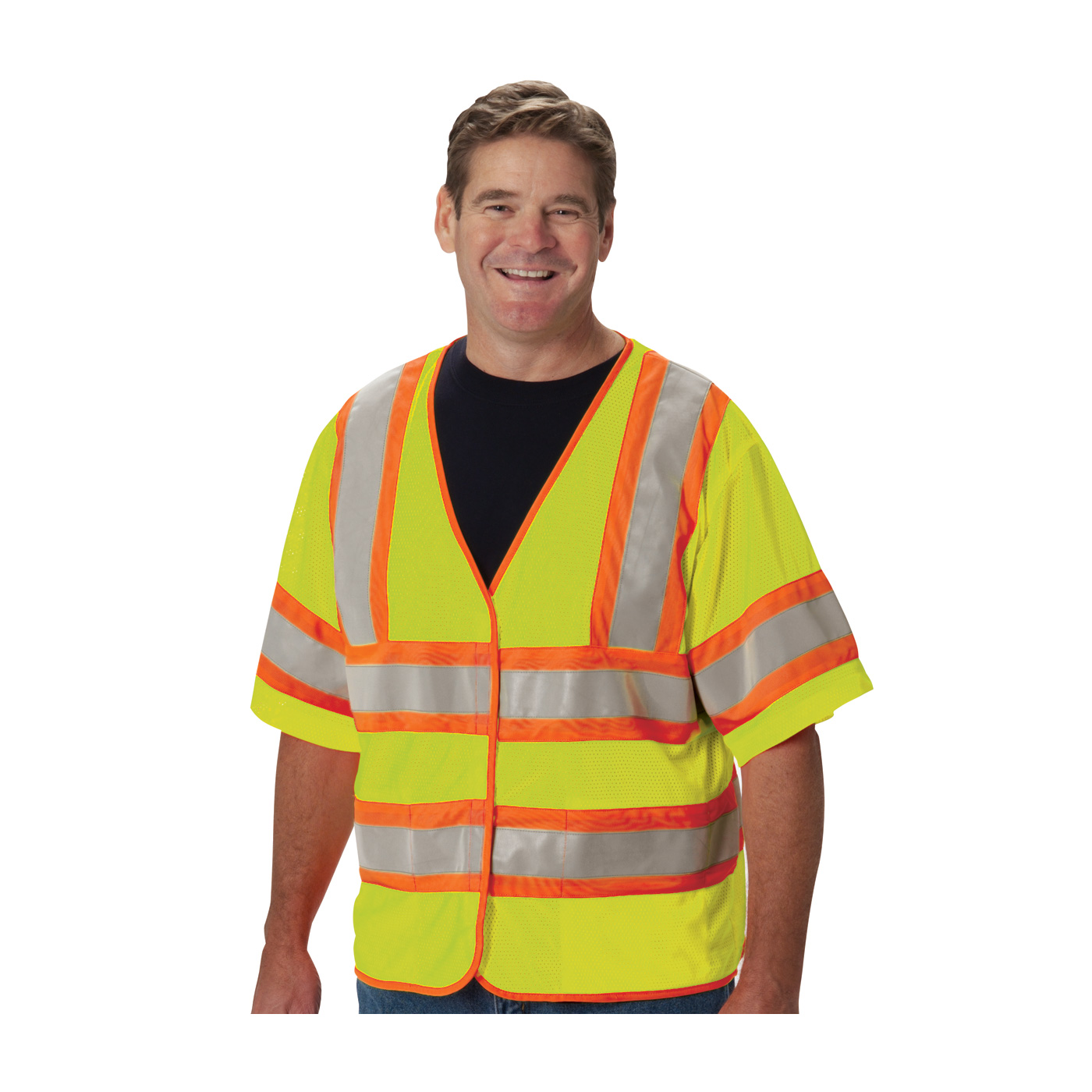PIP 305-HSVPFRLY ANSI Class 3 FR-Treated Mesh Vest, Hi Vis Lime Yellow, 2 Internal Pockets