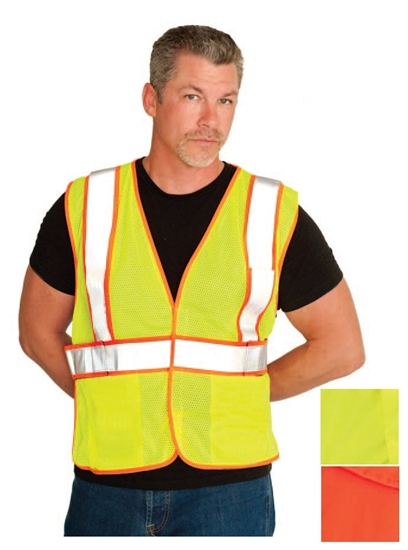 PIP ANSI Class 2 FR-Treated Mesh Vest, Lime Yellow with 2 Internal Pockets #305-MVFRLY