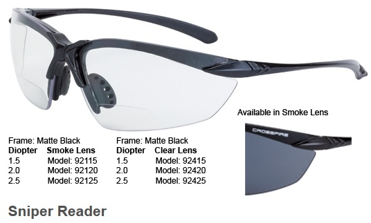 CrossFire Sniper 92115 Safety Glass  1.5 Reader, Smoke Lens, Matte Black Frame, Box/12