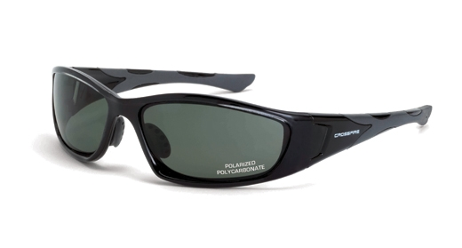 Crossfire MP7 24426 Safety Glasses Foam Lined, Polarize Black Frame Blue / Green Lens, Each Pair