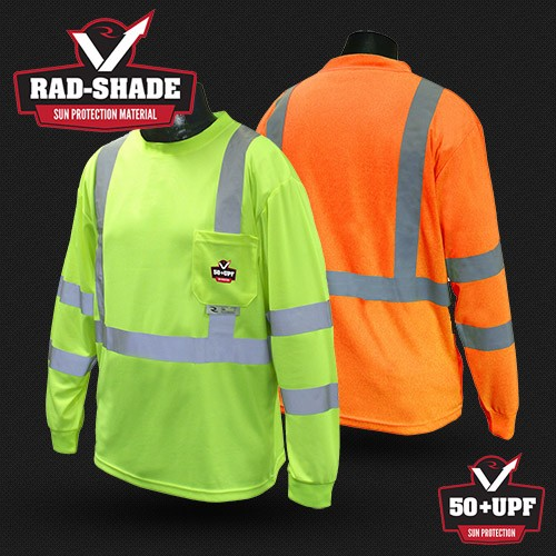 Radians ST21UV Hi Vis Yellow or Orange with UV Protection, Moisture Wicking Class 3 Long Sleeve T-Shirt
