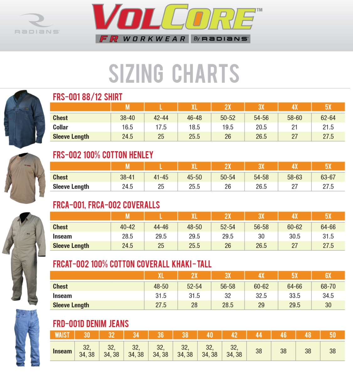 VolCore FR Size Chart
